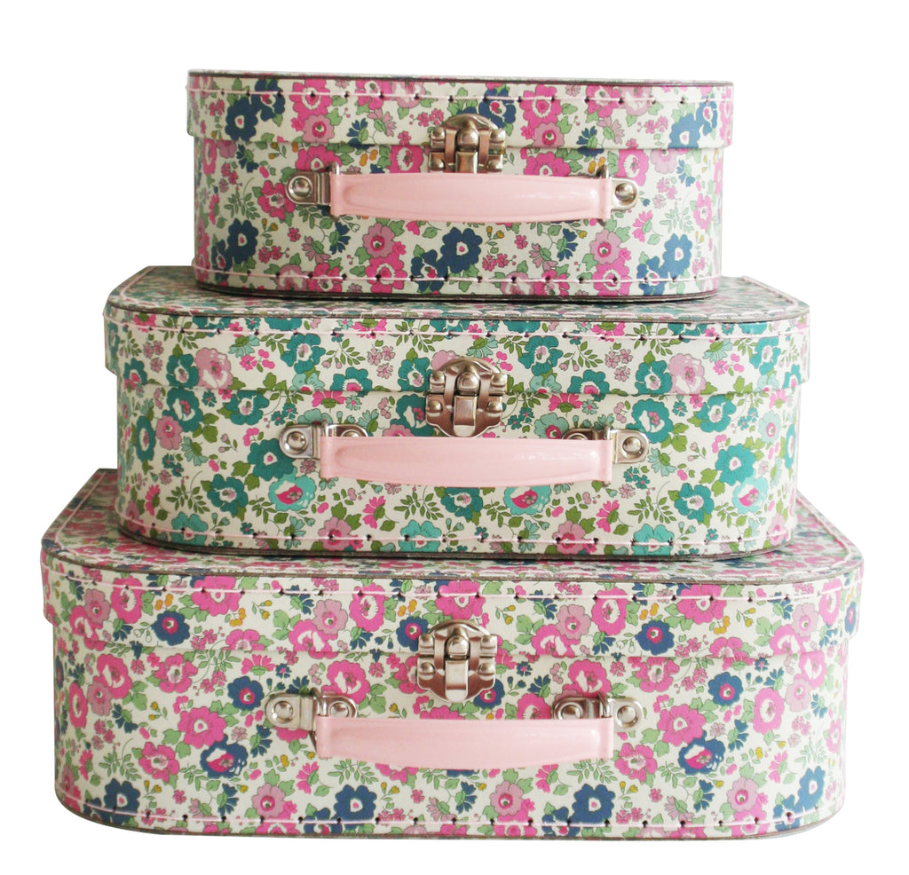 Kids Carry Suitcase Set - Petit Floral Teal & Pink - Petit Luxe Bebe