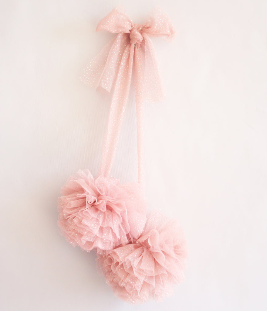 Soft Tulle Pom Pom - Sparkle Blush Pink - Petit Luxe Bebe