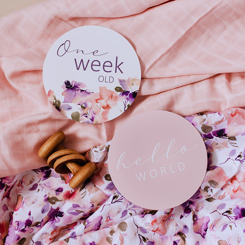 Blushing Beauty & Musk Pink Baby Milestone Cards - Petit Luxe Bebe