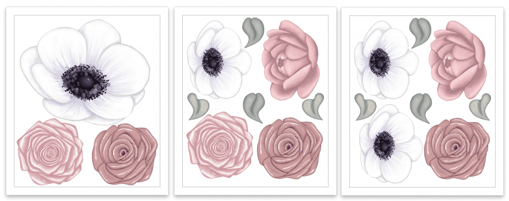 The Flower Box Sets - Bordeaux | Floral Wall Decal Set - Petit Luxe Bebe