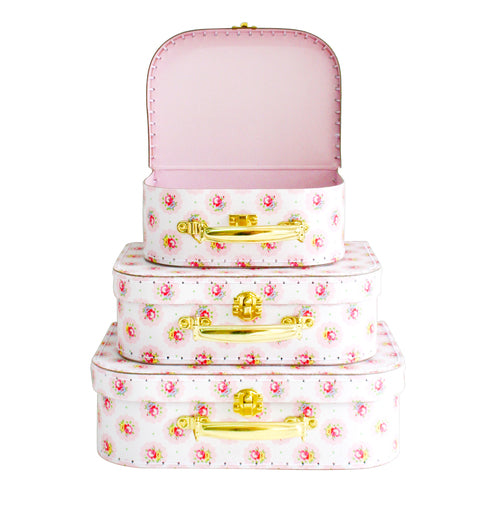 Kids Carry Suitcase Set - Floral Medallion (NEW Design) - Petit Luxe Bebe