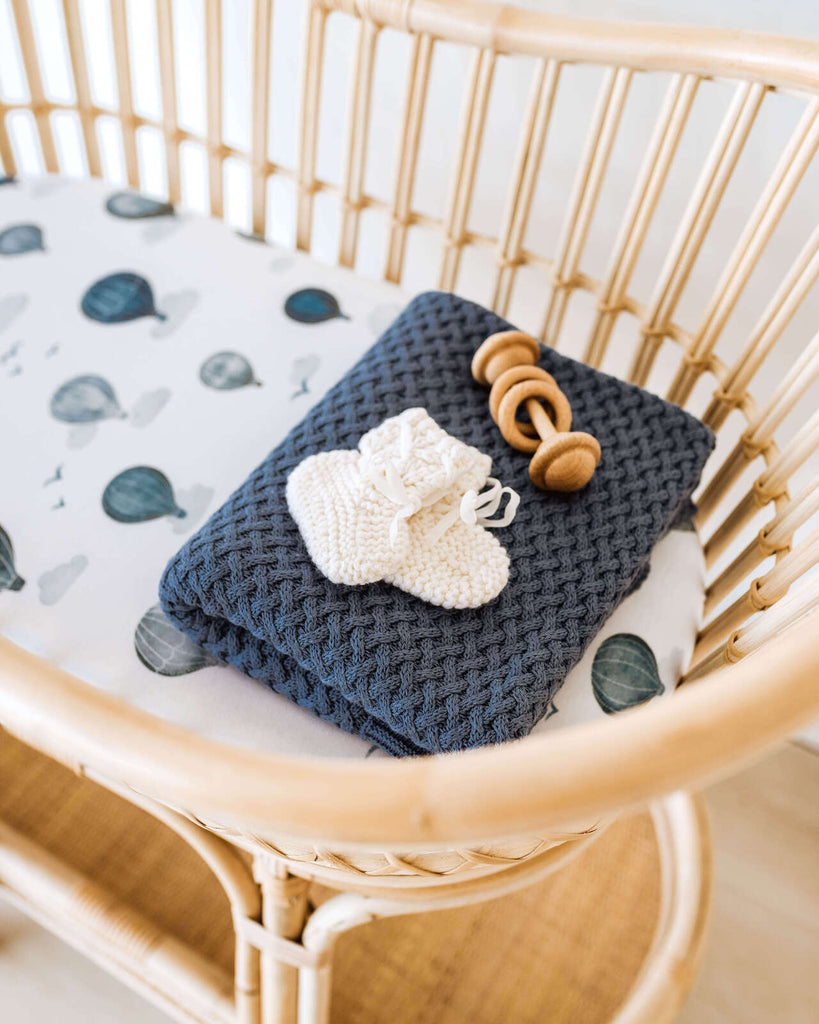 Fitted Bassinet Sheet | Change Pad Cover - Cloud Chaser - Petit Luxe Bebe