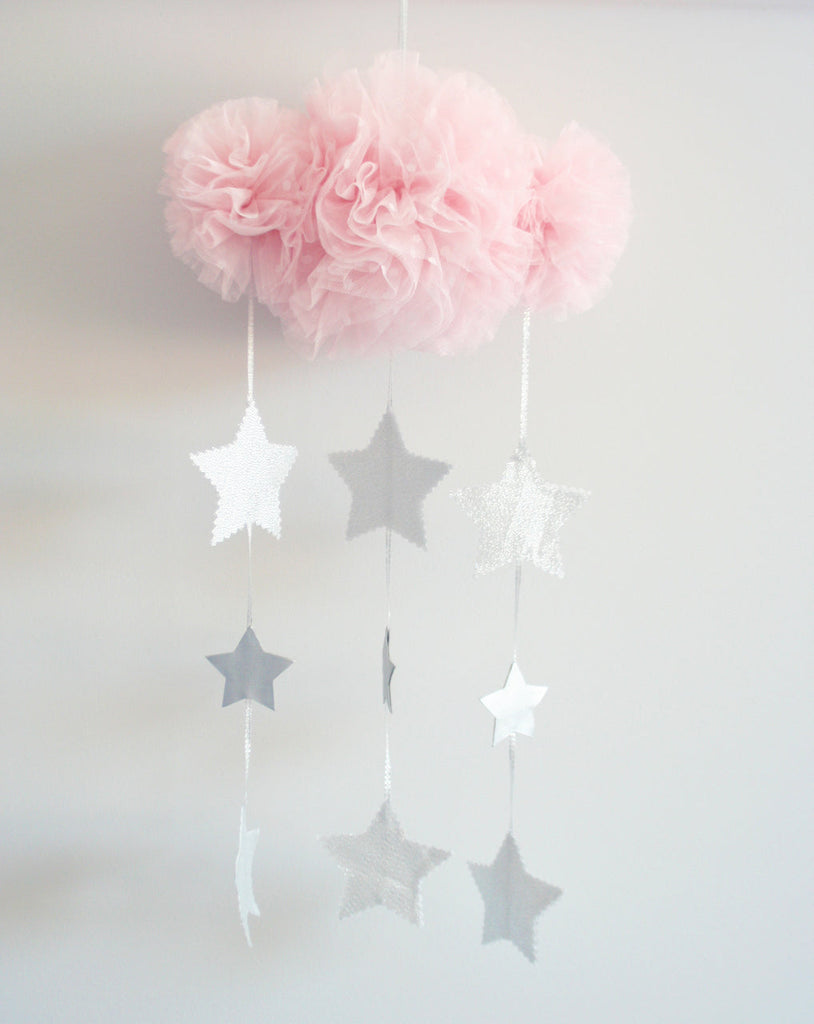 Tulle Cloud & Stars Mobile - Pale Pink & Silver - Petit Luxe Bebe