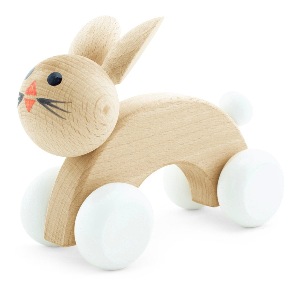 Cotton Tail  - Wooden Push Along Rabbit Toy - Petit Luxe Bebe