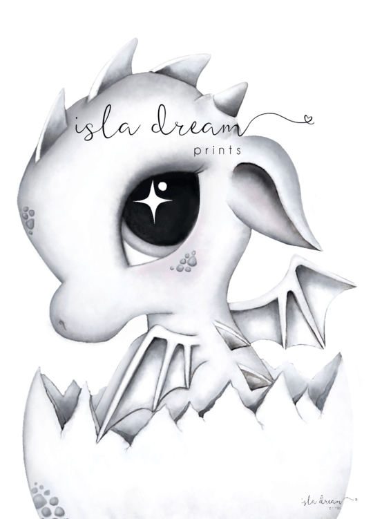 DEX the Baby Dragon - Whimsical Art Print - Petit Luxe Bebe