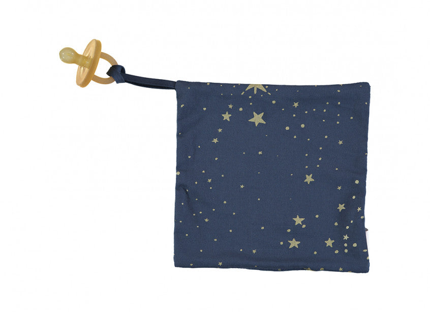 Nobodinoz Pacifier Holder Dodo - Gold Stella & Night Blue - Petit Luxe Bebe