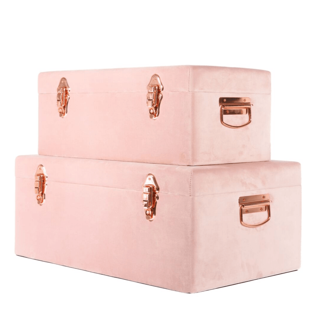 Luxe Velvet Storage Case Set - Dusty Pink {RESTOCK End July 2020} - Petit Luxe Bebe