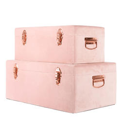 Luxe Velvet Storage Case Set - Dusty Pink - Petit Luxe Bebe