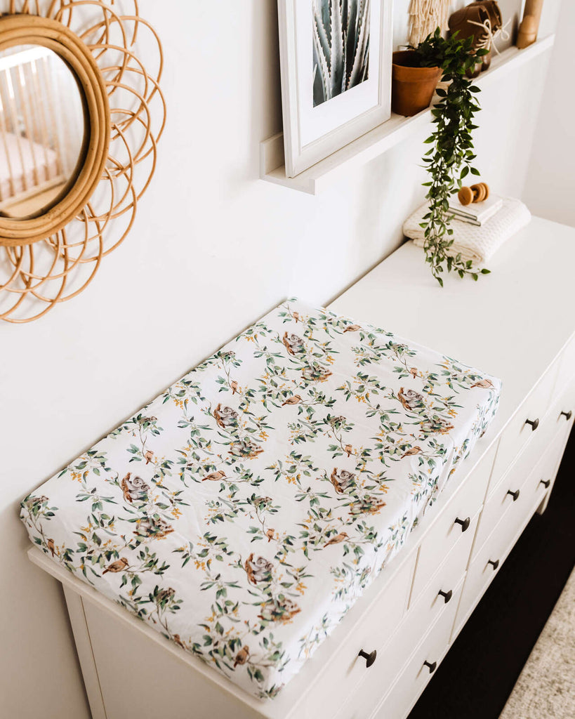 Fitted Bassinet Sheet | Change Pad Cover - Eucalypt - Petit Luxe Bebe