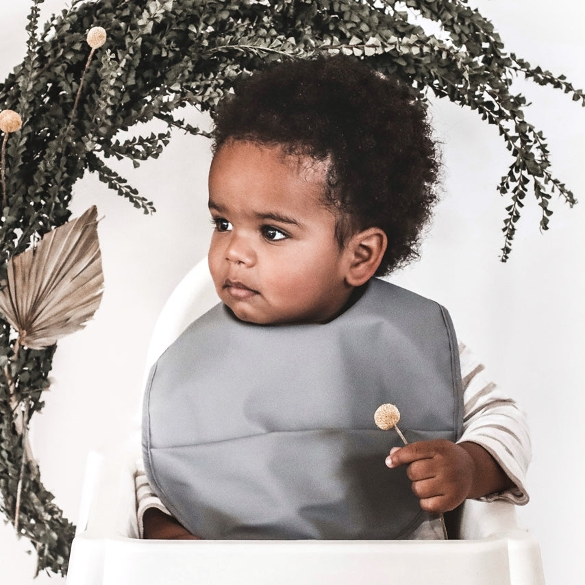 GREY - Waterproof Snuggle Bib - Petit Luxe Bebe