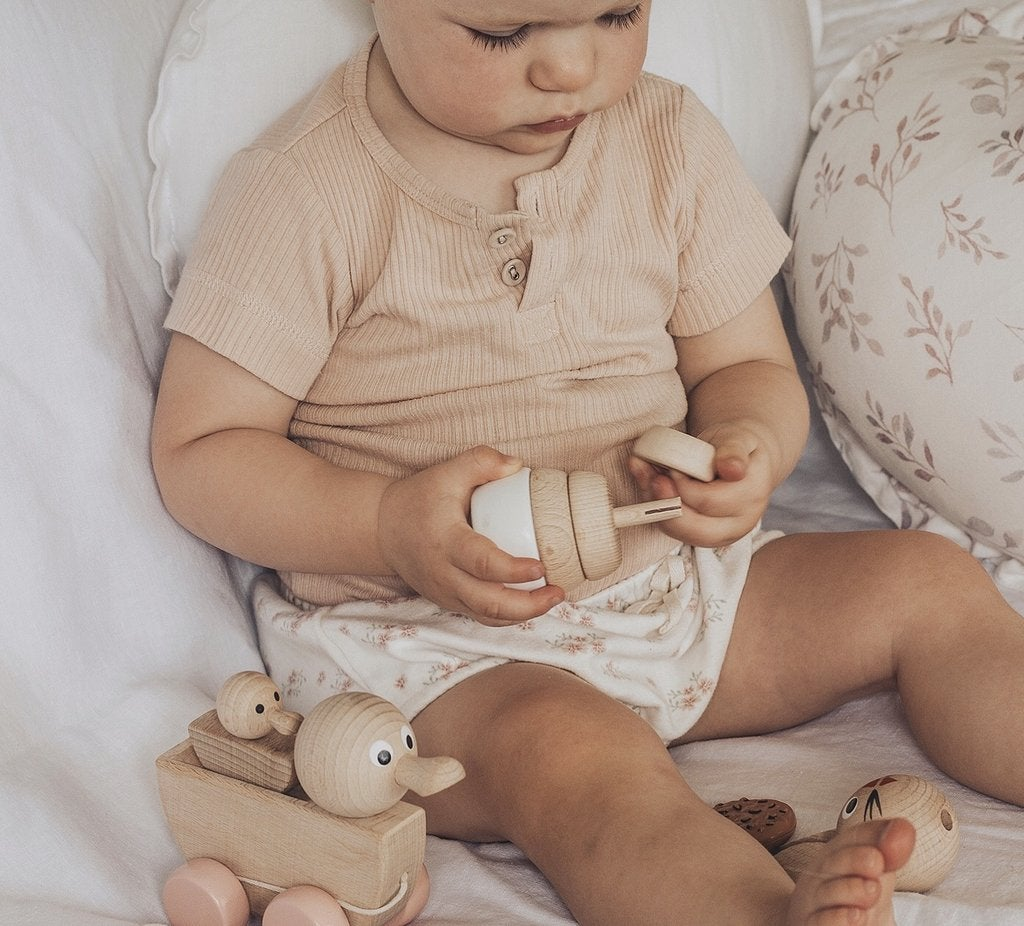 Georgia  - Wooden Pull Along Duck with Duckling - Petit Luxe Bebe