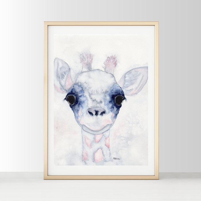 Nursery Decor Watercolour Wall Art Print - Baby Giraffe