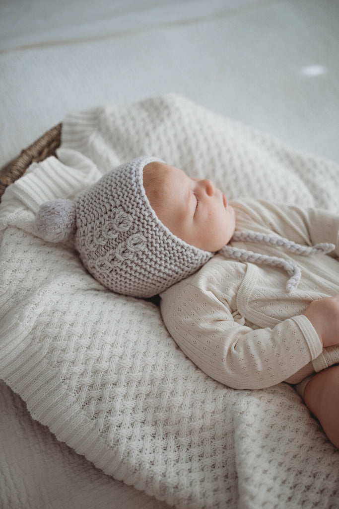 Grey Merino Wool Baby Bonnet & Booties Set - Petit Luxe Bebe