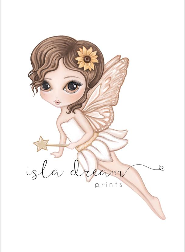 Hazel The Flying Butterfly Fairy Art Print - Petit Luxe Bebe