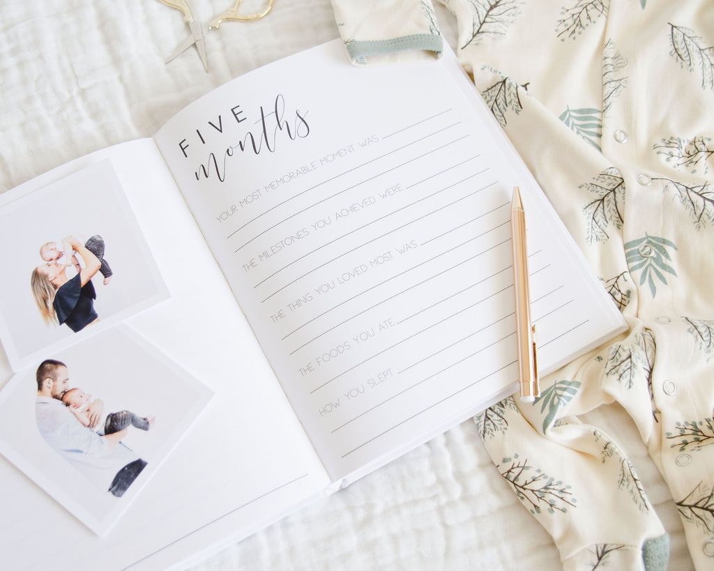 HELLO LITTLE LOVE Modern Baby Memory Book - Petit Luxe Bebe