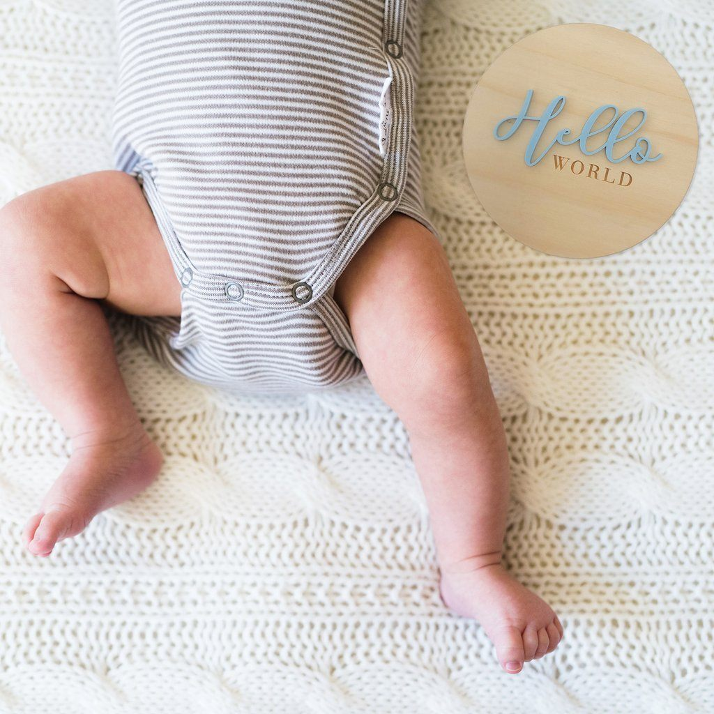 Hello World! Birth Announcment Plaque - Petit Luxe Bebe