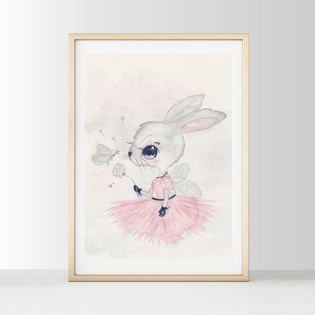 Nursery Decor, Whimsical Art Print - Indie The Rabbit - Petit Luxe Bebe