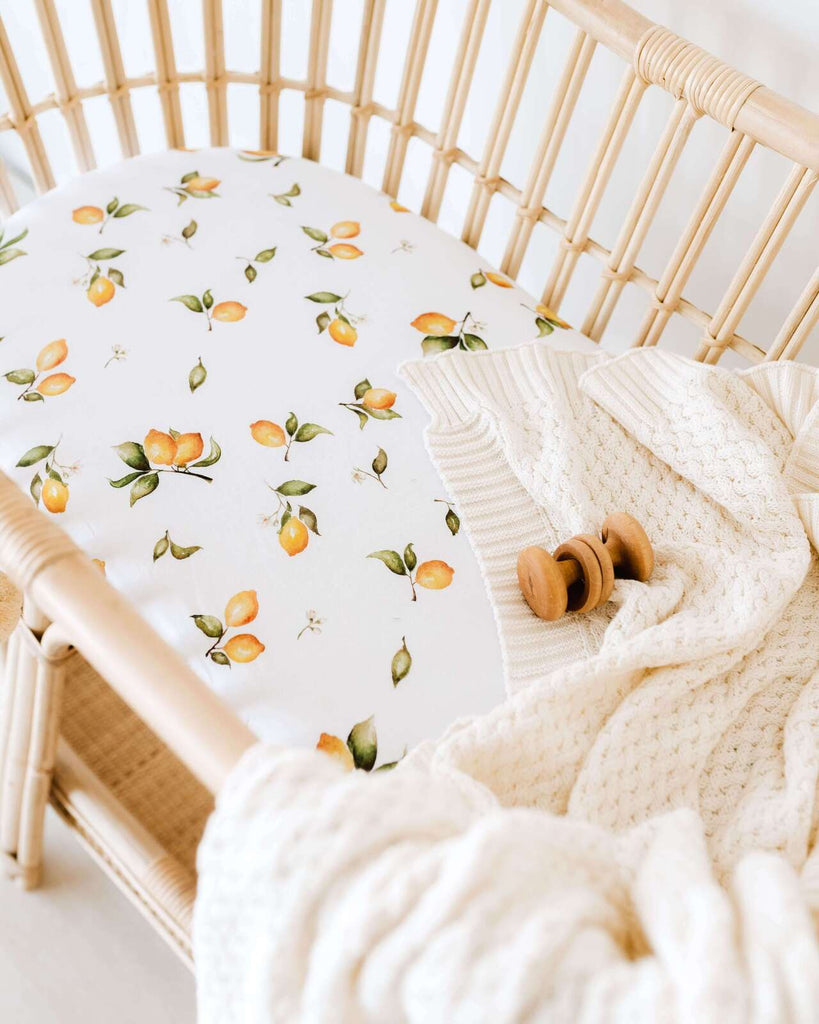Fitted Bassinet Sheet | Change Pad Cover - Lemon - Petit Luxe Bebe
