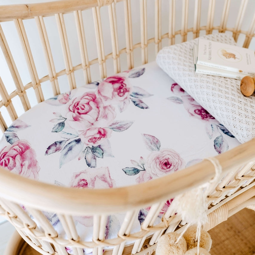 Fitted Bassinet Sheet | Change Pad Cover - Lilac Skies - Petit Luxe Bebe
