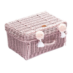 Dusty Pink Wicker Suitcase