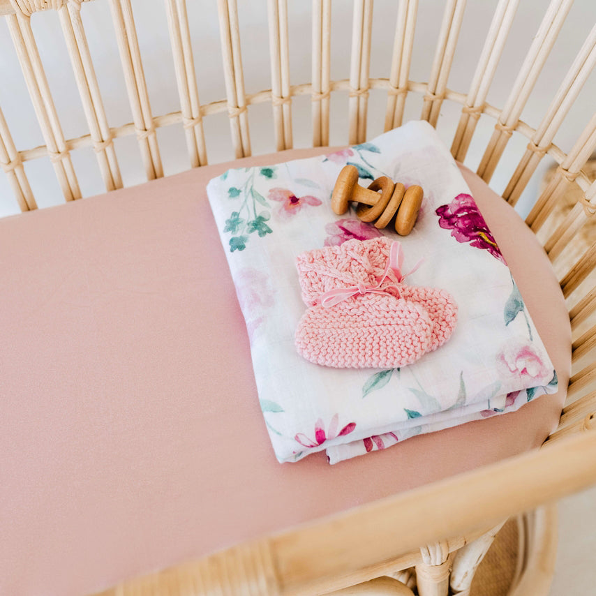 Fitted Bassinet Sheet | Change Pad Cover - Lullaby Pink - Petit Luxe Bebe