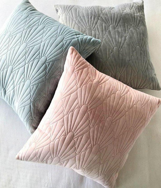Luxe Quilted Velvet Cushion - Dusty Pink, Sage or Grey