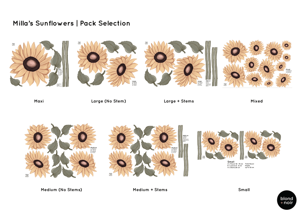 Milla's Sunflowers Removable Fabric Wall Decals - Petit Luxe Bebe