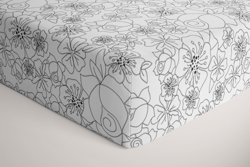 Fitted Single Bed Sheet - Mono Floral - Petit Luxe Bebe