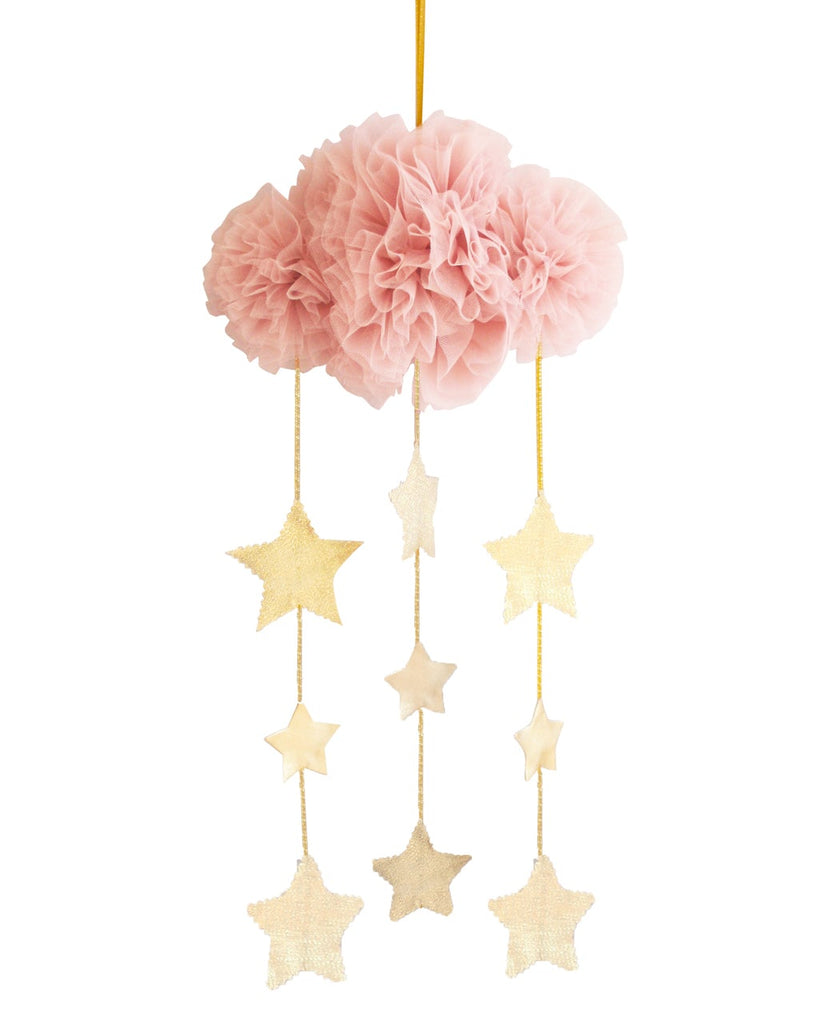 Tulle Cloud & Stars Mobile - Blush & Gold - Petit Luxe Bebe