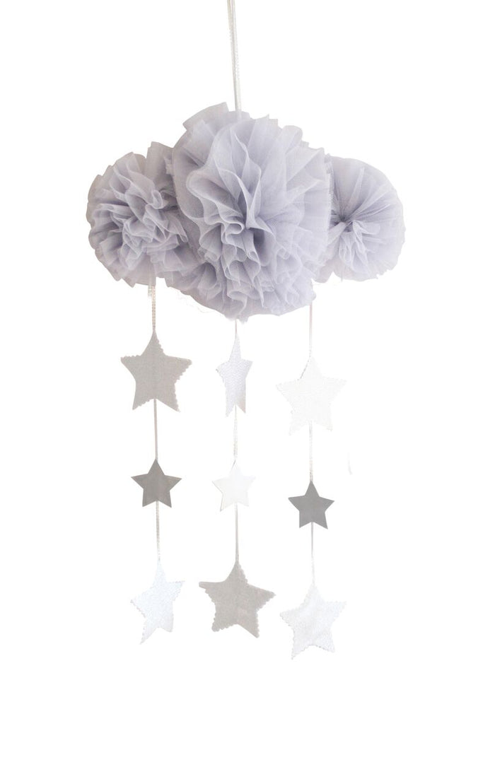 Tulle Cloud & Stars Mobile - Mist & Silver