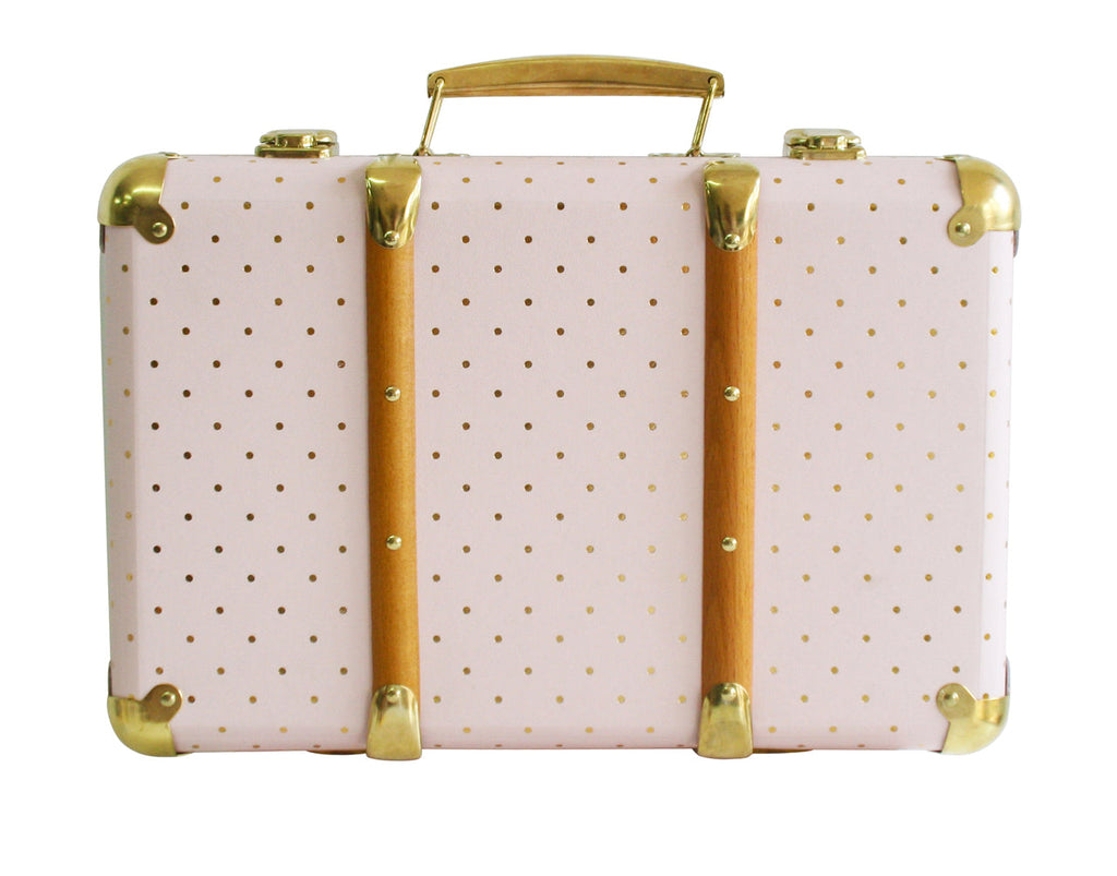 Alimrose Vintage Style Carry Case - Pink & Gold Spot - Petit Luxe Bebe