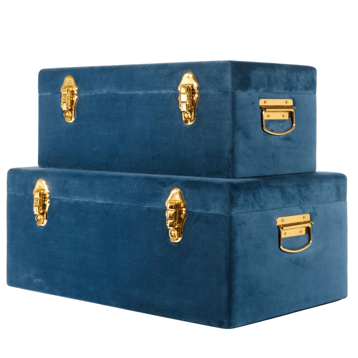 Luxe Velvet Storage Case Set -Navy Blue