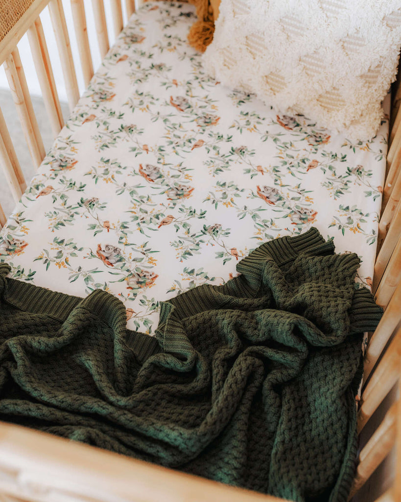 Olive Green | Knitted Baby Blanket - Petit Luxe Bebe