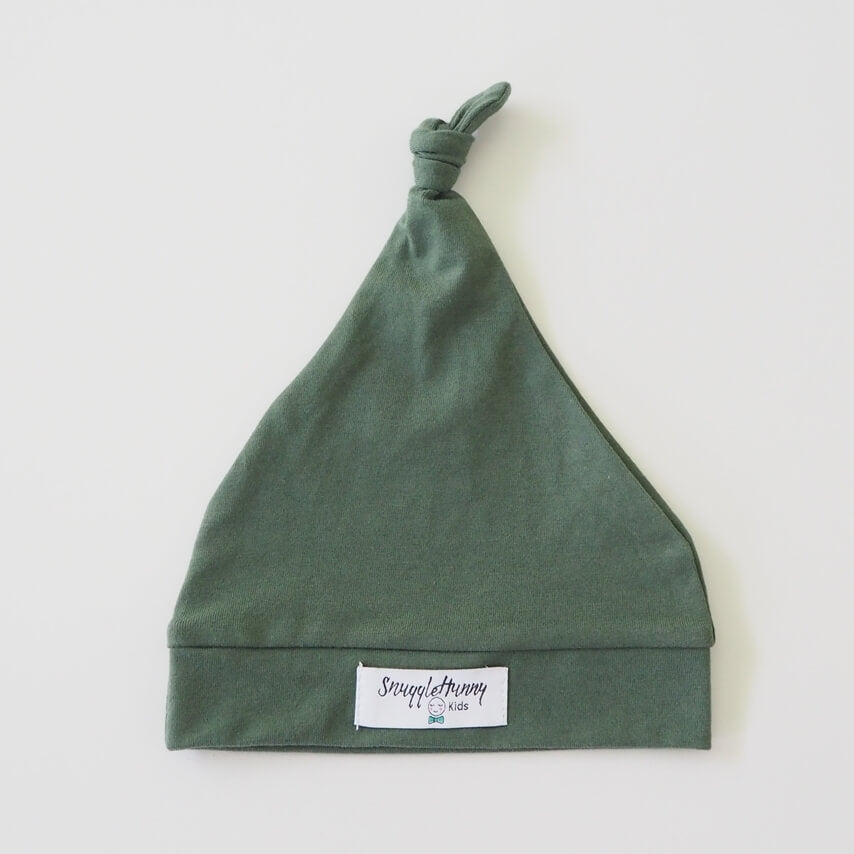 Olive Green Knotted Baby Beanie - Petit Luxe Bebe