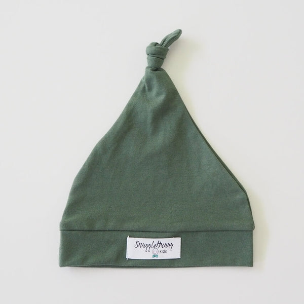 Olive Green Knotted Baby Beanie
