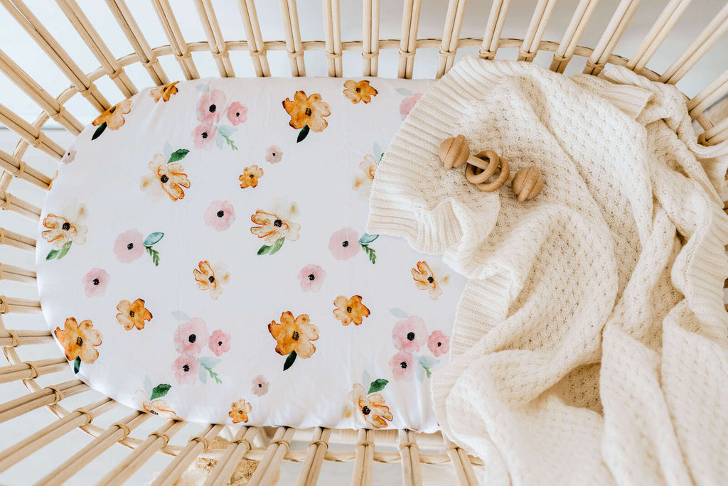 Fitted Bassinet Sheet | Change Pad Cover - Poppy - Petit Luxe Bebe