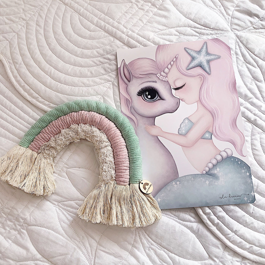 Cotton & Coral MINT - Mermaid & Unicorn Art Print - Petit Luxe Bebe