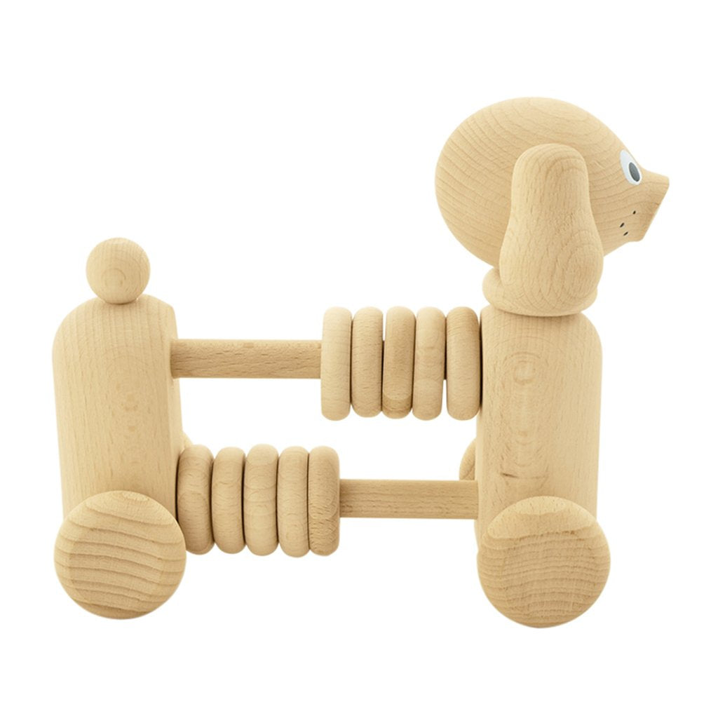 Rowan - Wooden Counting Dog Toy With Beads - Petit Luxe Bebe