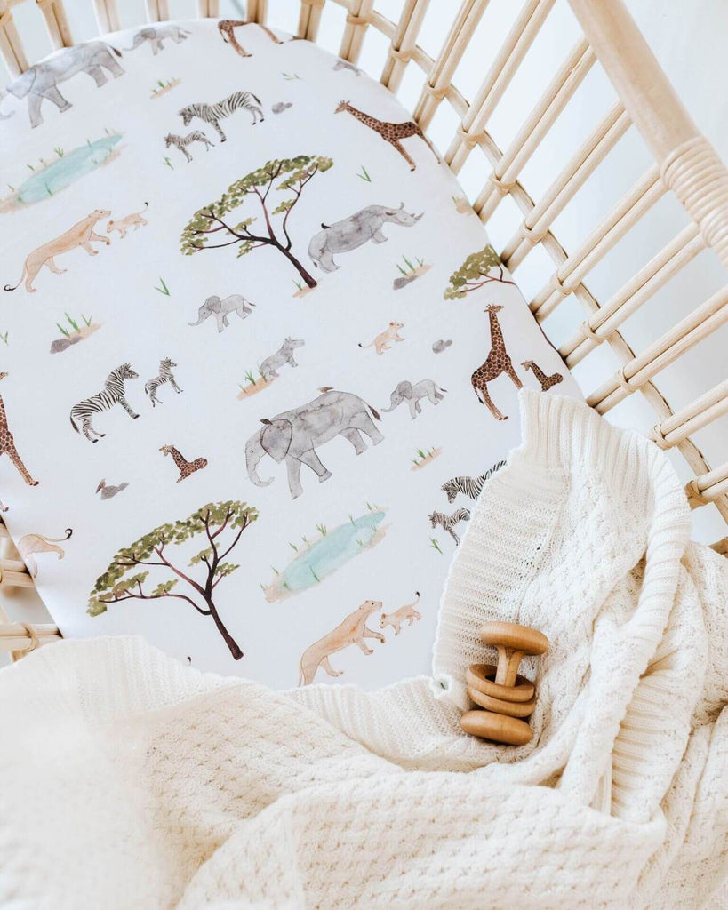 Fitted Bassinet Sheet | Change Pad Cover - Safari - Petit Luxe Bebe