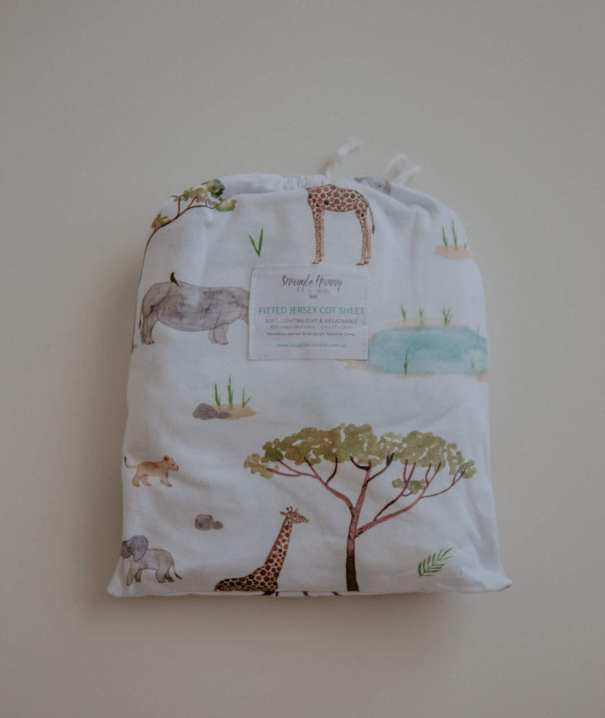 Safari Jersey Cotton Fitted Cot Sheet - Petit Luxe Bebe