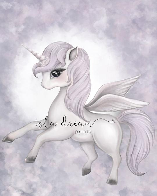 SCARLETT - Whimsical Unicorn Pegasus Art Print