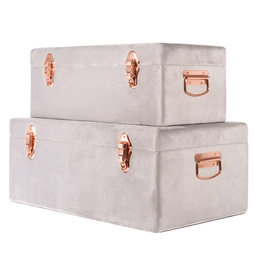 Luxe Velvet Storage Case Set - Soft Grey - Petit Luxe Bebe