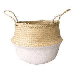 Large Painted Seagrass Basket - Soft Pink