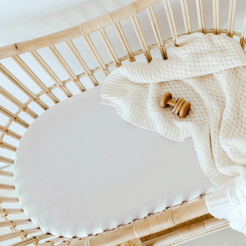 Fitted Bassinet Sheet | Change Pad Cover - Stone - Petit Luxe Bebe