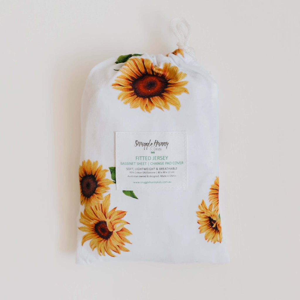 Fitted Bassinet Sheet | Change Pad Cover - Sunflower - Petit Luxe Bebe