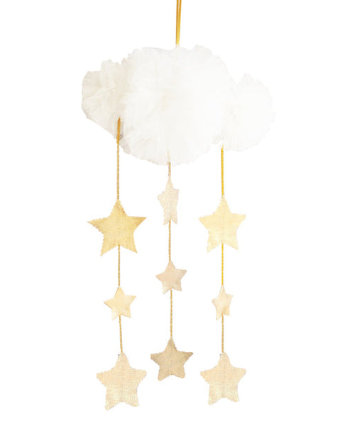 Tulle Cloud & Stars Mobile - Ivory & Gold