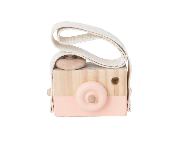 Wooden Toy Camera - Coral Blossom - Petit Luxe Bebe