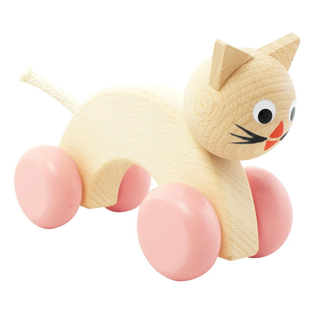 Lilly - Wooden Push Along Cat Toy - Petit Luxe Bebe