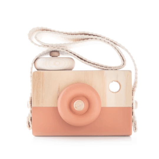 Wooden Toy Camera - Terracotta Chip - Petit Luxe Bebe