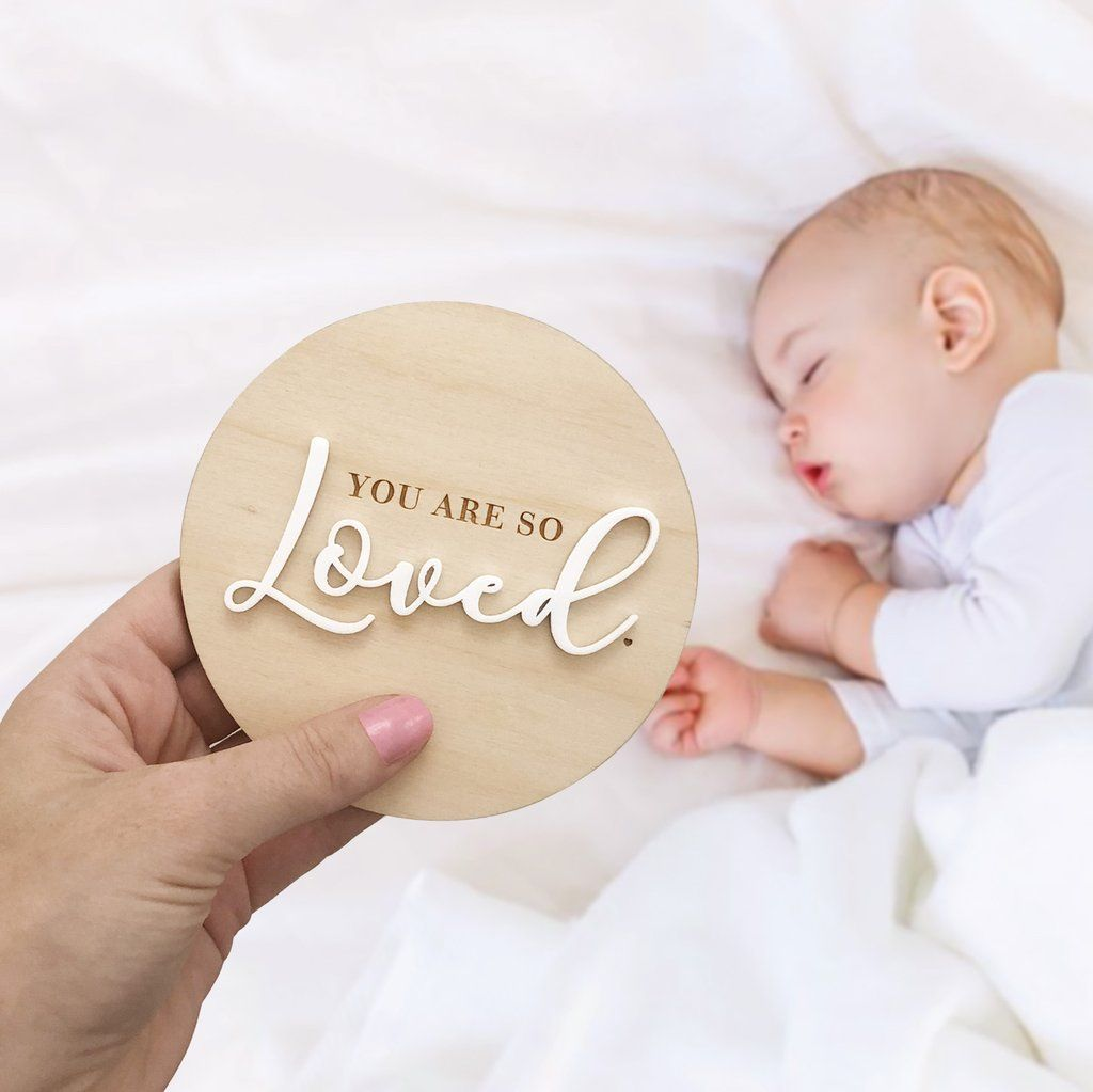 You Are So Loved Announcment Plaque - Petit Luxe Bebe